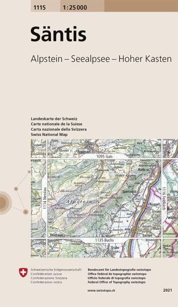 1115 Säntis topographische Wanderkarte Schweiz 1:25.000