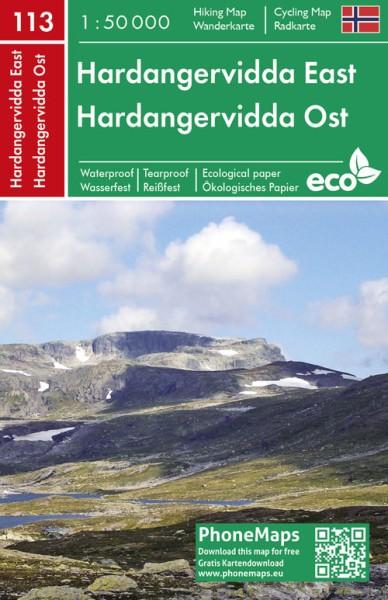 Hardangervidda Ost, Wander- und Radkarte 1:50.000, PhoneMaps Bl. 113
