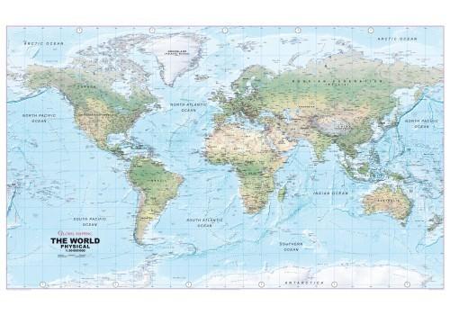 Weltkarte physisch von Global Mapping 99 cm x61 cm