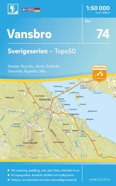 Vansbro Wanderkarte 1:50.000, Schweden Topo50 Blatt 74