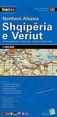 Albanien Nord Straßenkarte 1:200.000, Vektor 322