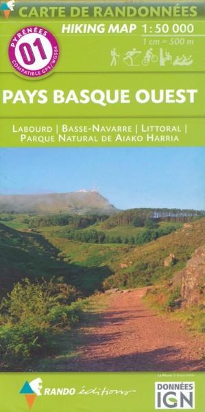 Rando Blatt 1, Pays Basque Ouest (Baskenland West) Wanderkarte Pyrenäen 1:50.000