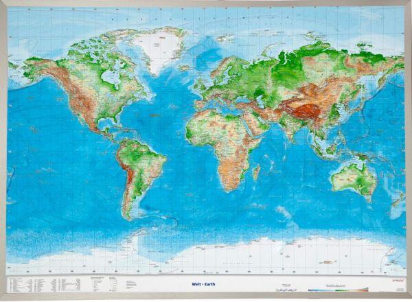 Welt Relief groß mit Alu-Rahmen – 77 cm x 57 cm