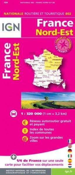 Frankreich Nord-Ost Straßenkarte im Maßstab 1:350.000 - IGN 802