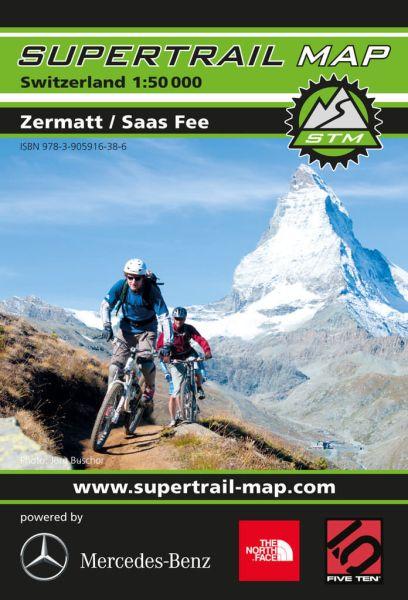 Supertrail Map Zermatt, Saas Fee MTB-Karte, 1:50T, Wasser- und reissfest (STM)