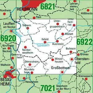 6921 GROSSBOTTWAR topographische Karte 1:25.000 Baden-Württemberg, TK25