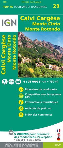 Calvi Cargese 1:75.000 Rad- und Wanderkarte, IGN Top75029