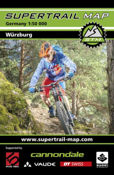 Supertrail Map Würzburg, Mountainbike-Karte, 1:50.000, Wasser- und reißfest (STM)