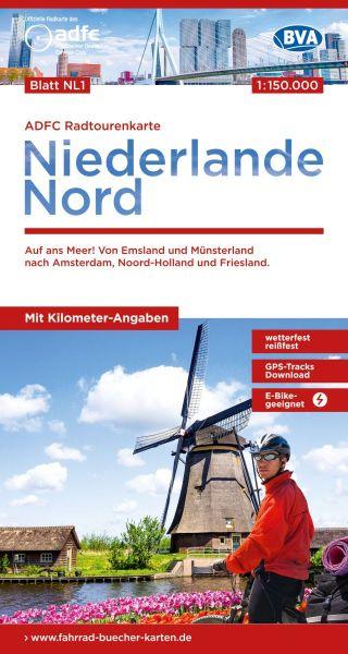 ADFC Radtourenkarte NL1 Niederlande Nord, Radkarte 1:150.000