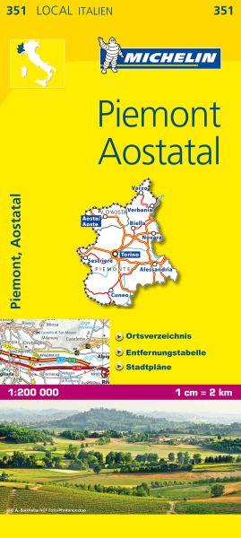 Michelin 351 Piemont, Aostatal 1:200.000 Straßenkarte