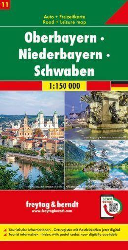 Oberbayern, Niederbayern, Schwaben Autokarte im Maßstab 1:150.000 - Freytag&Berndt Karte 11