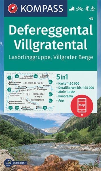 Kompass Karte 45, Defereggental, Villgratental 1:50.000, Wandern, Rad fahren