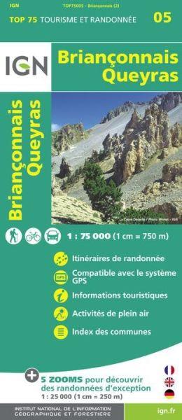 Brianconnais, Queyras 1:75.000 Rad- und Wanderkarte, IGN Top75005