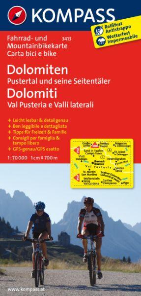 Dolomiten: Pustertal und Seitentäler Fahrradkarte 1:70.000; Kompass 3413