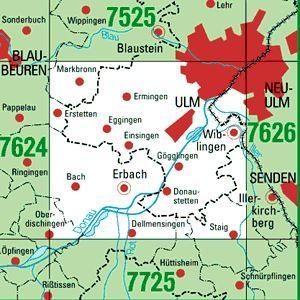 7625 ULM-SÜDWEST topographische Karte 1:25.000 Baden-Württemberg, TK25