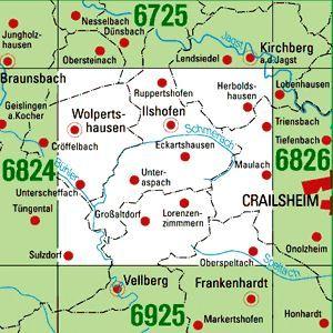 6825 ILSHOFEN topographische Karte 1:25.000 Baden-Württemberg, TK25