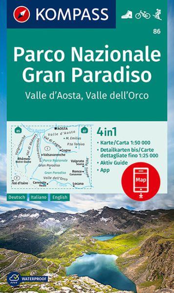 Kompass Karte 86, Gran Paradiso 1:50.000, Wandern, Rad fahren