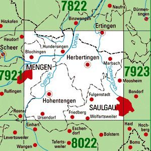 7922 SAULGAU WEST topographische Karte 1:25.000 Baden-Württemberg, TK25