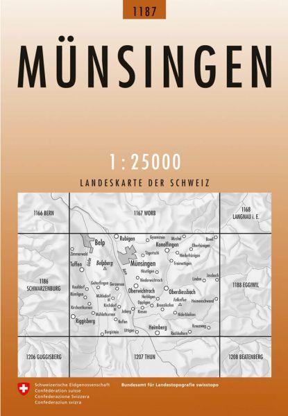 1187 Münsingen topographische Wanderkarte Schweiz 1:25.000