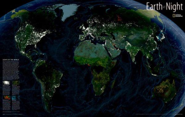"""NGS Poster """"Earth at night"""" - """"Die Erde bei Nacht"""" Weltkarte 89 cm x 56 cm"""