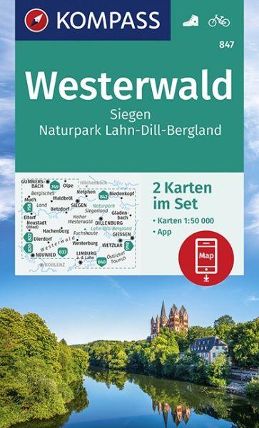 Kompass Karte 847, Westerwald Kartenset, 1:50.000, Wandern, Rad fahren