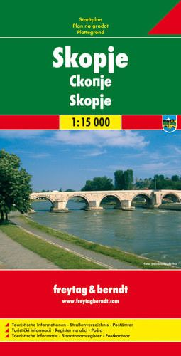 Skopje, Stadtplan 1:15.000, Freytag und Berndt