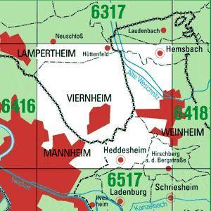 6417 MANNHEIM-NORDOST topographische Karte 1:25.000 Baden-Württemberg, TK25