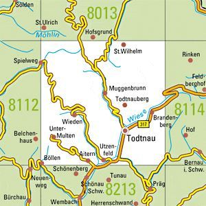 8113 TODTNAU topographische Karte 1:25.000 Baden-Württemberg, TK25