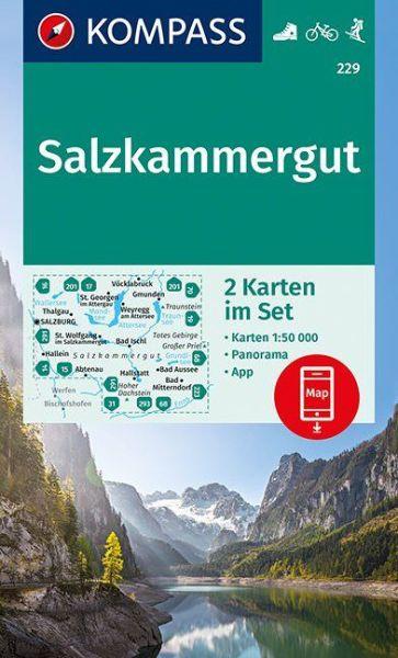 Salzkammergut Karte.Kompass Karten Set 229 Salzkammergut 1 50 000 Wandern Rad Fahren Wasserfest