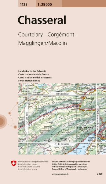 1125 Chasseral topographische Karte Schweiz 1:25.000