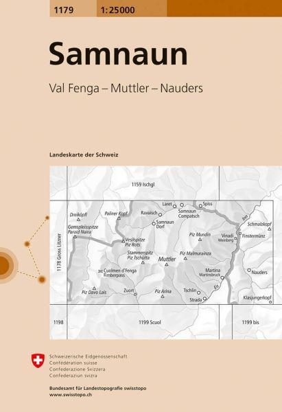 1179 Samnaun topographische Wanderkarte Schweiz 1:25.000