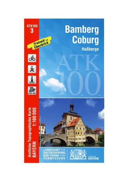 ATK100 Blatt 3 Bamberg – Coburg, Freizeitkarte, 1:100.000 amtliche topographische Karte