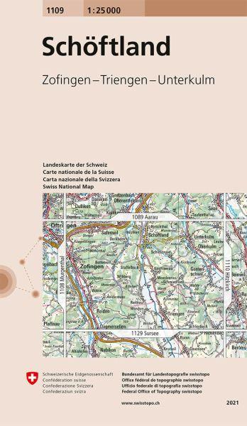 1109 Schöftland topographische Wanderkarte Schweiz 1:25.000