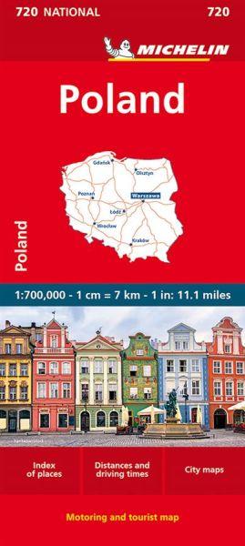 Michelin 720 Polen Straßenkarte, Stadtplan von Warszawa, 1:700.000