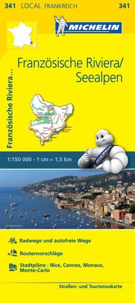 Michelin local 341 Französische Riviera, Seealpen Straßenkarte 1:150.000