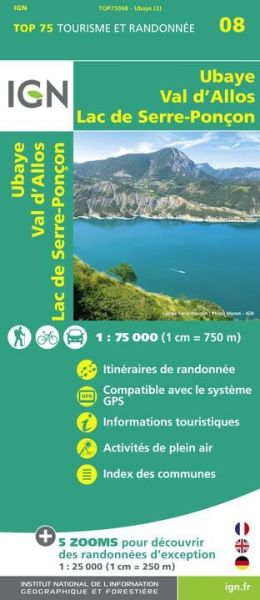 Ubaye, Val d'Allos 1:75.000 Rad- und Wanderkarte, IGN Top75008