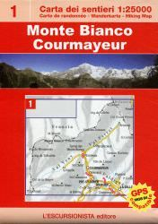 Monte Bianco, Courmayeur, topographische Wanderkarte 1:25.000 L'Escursionista Bl.1