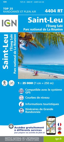 IGN 4404 RT Saint-Leu, l'Étang Salé, La Reunion, topographische Wanderkarte 1:25.000, IGN