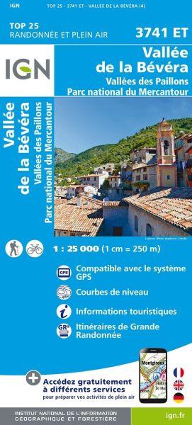 IGN 3741 ET Vallees de la Bevera Frankreich Wanderkarte 1:25.000