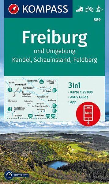 Berge Um Freiburg Karte.Kompass Karte 889 Freiburg Und Umgebung 1 25 000 Wandern Rad