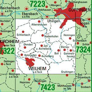 7323 WEILHEIM A.D.TECK topographische Karte 1:25.000 Baden-Württemberg, TK25