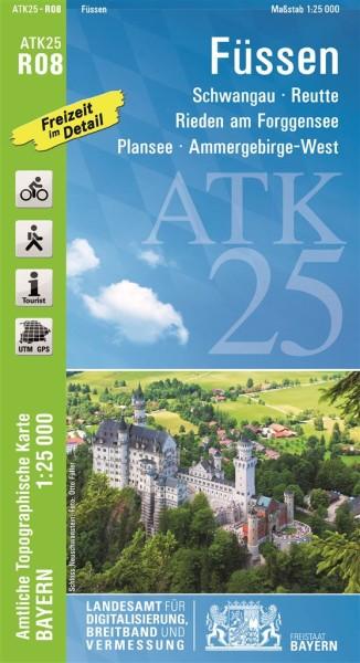 Topographische Karte Bayern.Atk R08 Füssen 1 25 000 Amtliche Topographische Karte Mit Wander Und Radwegen Bayern