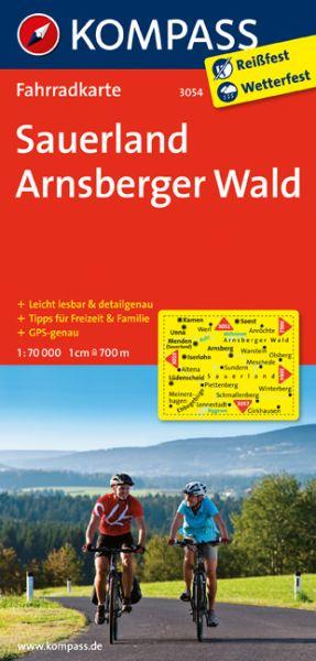 Kompass Fahrradkarte Blatt 3054, Sauerland, Arnsberger Wald 1:70.000