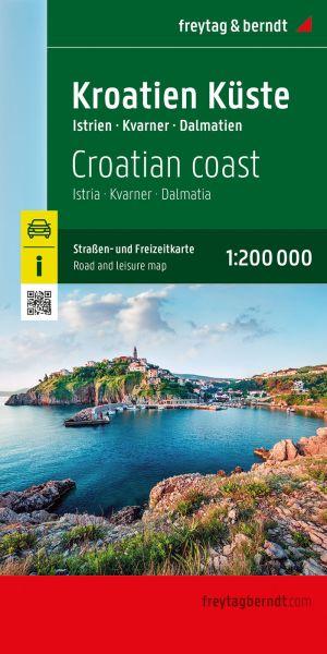 Kroatien Küste - Istrien, Dalmatien, Dubrownik, Straßenkarte 1:200.000, Freytag und Berndt