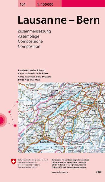 104 Lausanne - Bern, topographische Karte Schweiz 1:100.000