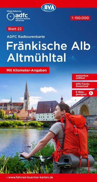 ADFC Radtourenkarte 22, Fränkische Alb - Altmühltal Radkarte 1:150.000