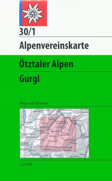 DAV Alpenvereinskarte 30/1 Ötztaler Alpen, Gurgl, Ski- und Wanderkarte 1:25.000