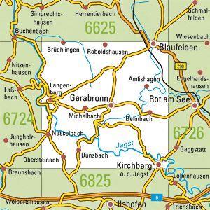 6725 GERABRONN topographische Karte 1:25.000 Baden-Württemberg, TK25