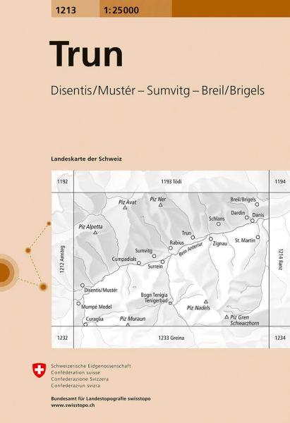 1213 Trun topographische Wanderkarte Schweiz 1:25.000