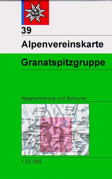 DAV Alpenvereinskarte 39 Granatspitzgruppe, Ski- und Wanderkarte 1:25.000